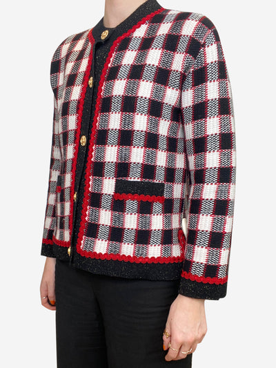 Red, black and cream knitted cardigan - size S