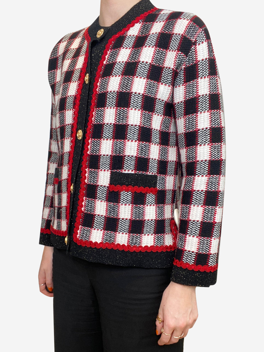 Red, black and cream checked cardigan - size s