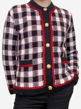 Load image into Gallery viewer, Red, black and cream checked cardigan - size s