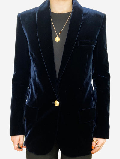 Midnight blue velvet blazer with single gold button- size UK 8