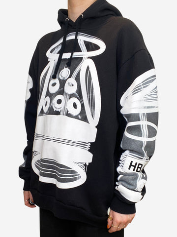 Black and white printed logo hoodie - size M