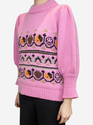 Pink fair isle puff sleeve sweater - size S