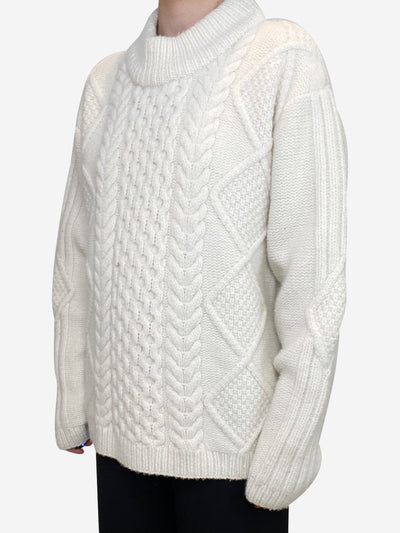 Cream wool and cashmere blend cable knit sweater - size M