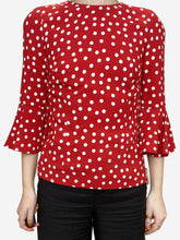Load image into Gallery viewer, Red and white spot blouse - size S