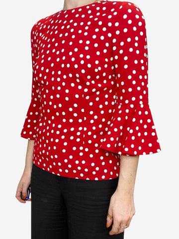 Red and white polkadot blouse with ruffle sleeves- size S