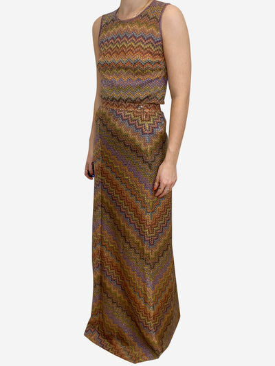Brown, mustard and blue Missoni Skirt and top, 10