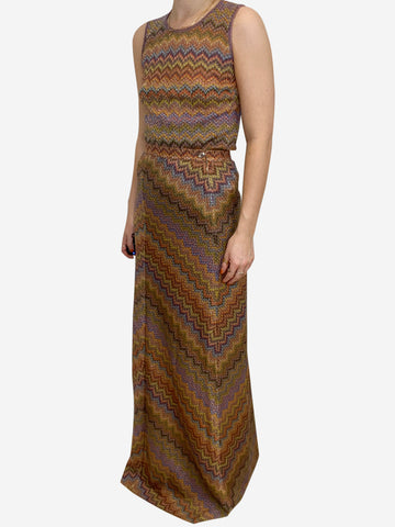Metallic multi knitted skirt and top set - size IT 10