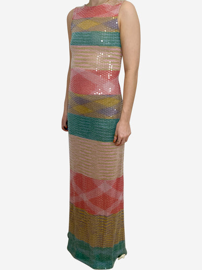 Milticoloured sequin maxi dress- size UK 10