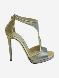 Jimmy Choo Metallic open toe heels with ankle strap - size EU 37