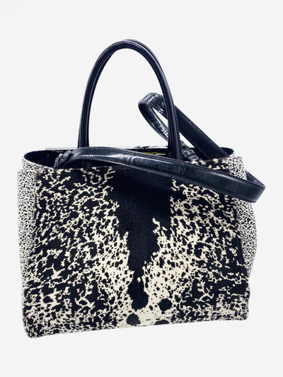 Cream and black print textile and leather shoulder bag