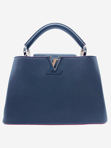 Cappucines PM bag in navy and pink