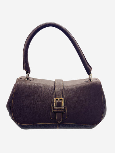 Brown leather flap and buckle shoulder bag