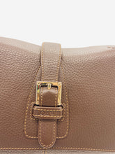 Load image into Gallery viewer, Brown leather flap and buckle shoulder bag