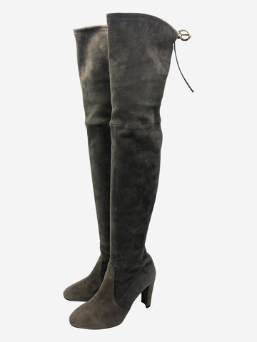 Taupe suede heeled over the knee boots- size EU 40