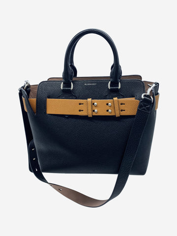 Black leather shoulder bag with brown belt accent