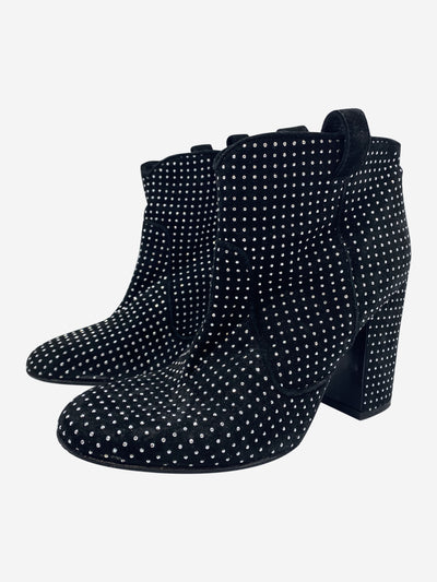 Pete black suede studded block heel ankle boots - size EU 37.5
