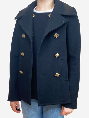 Black double breasted pea coat with detatched lapells and jewel buttons- size UK 6