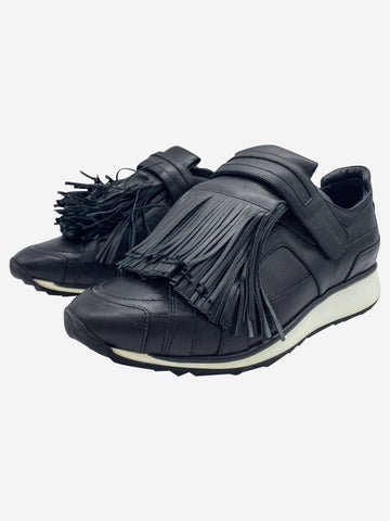 Black leather fringe trainers - size EU 39