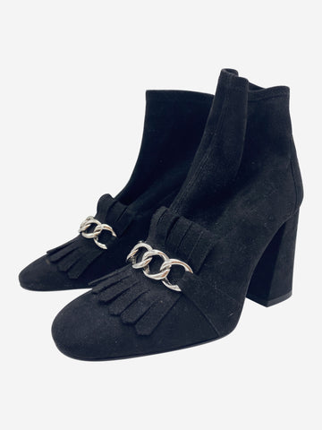 Ringleader black suede chain and fringe sock boots - size EU 39