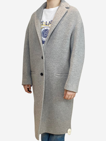 Grey single breasted wool coat - size UK 12