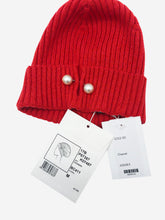 Load image into Gallery viewer, Red cashmere knitted hat with pearl detail - size M