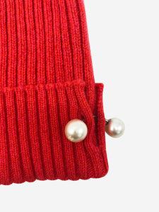 Chanel Red cashmere knitted hat with pearl detail - size M