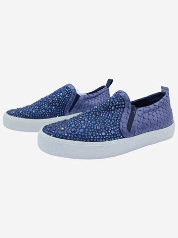 Navy crystal embellished slip on trainers - size EU 38