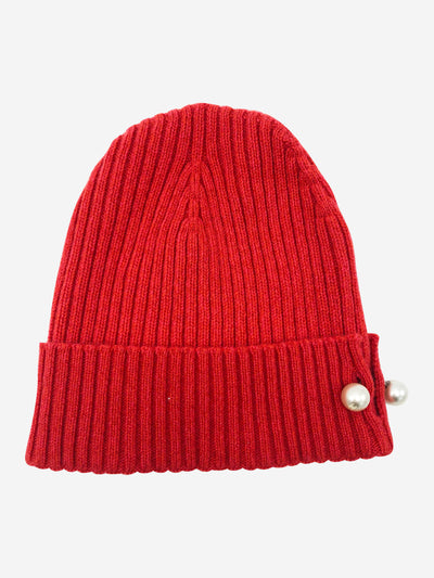 Red cashmere knitted hat with pearl detail - size M