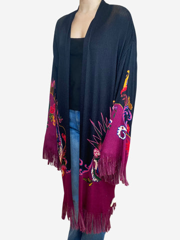 Black & fuchsia fringe cardigan - size IT 46