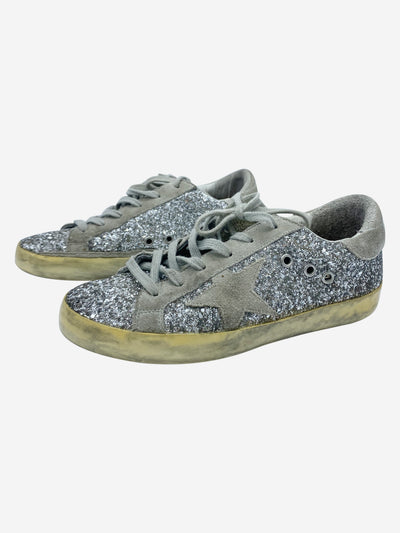 Superstar silver and glitter trainers - size EU 37