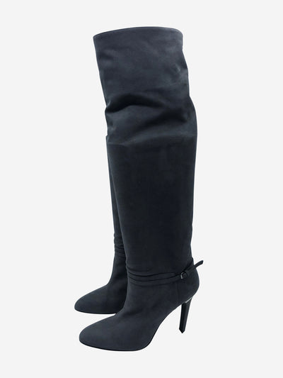 Grey & silver stiletto heel knee high boots - size EU 40