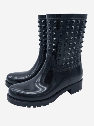 Black rain boots with embossed rockstuds - size EU 40