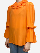 Load image into Gallery viewer, Orange neon orange ruffle neck blouse - size US 6