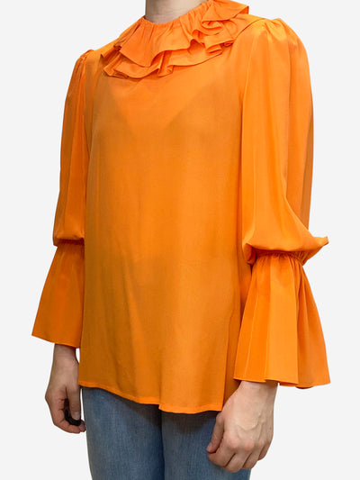 Orange neon orange ruffle neck blouse - size US 6
