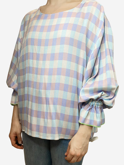 Lilac & blue gingham gathered sleeve top - size UK 10