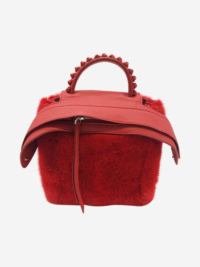 Red fur and leather backpack with top handle