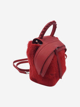 Load image into Gallery viewer, Red fur and leather backpack with top handle