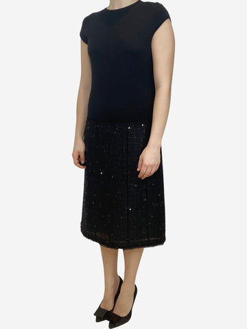Black Chanel cap sleeve midi dress with sequin skirt- size UK 12