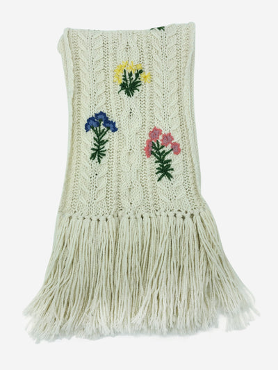 Cream knitted floral fringe trim scarf