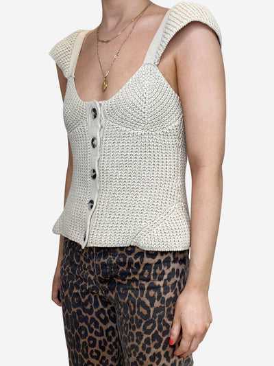Kira beige cotton ribbed knit tank - size S