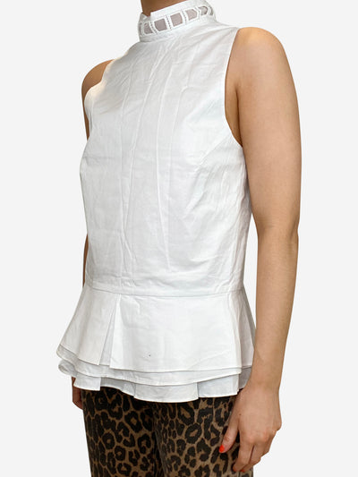 White sleeveless cotton peplum top - size S