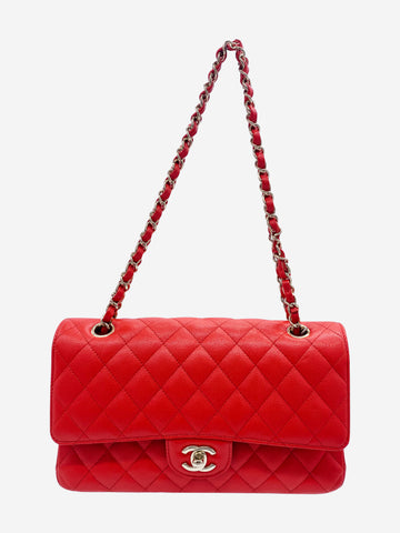 Red medium classic quilted flap bag with gold hardware