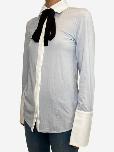 Pale blue striped shirt with black bow - size UK 6