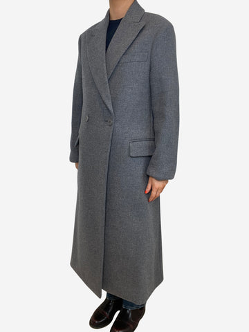 Long grey double breasted button up coat - size FR 36