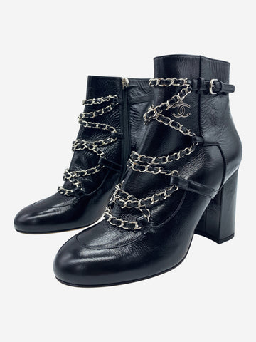 Black heeled ankle boots with chain detailing - size EU 39