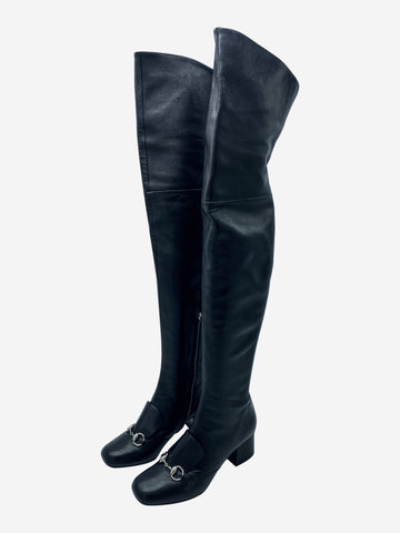 Black leather over the knee boots with horsebit- size EU 38