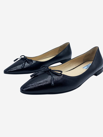 Black Saffino textured leather pointed ballet flats - size EU 38
