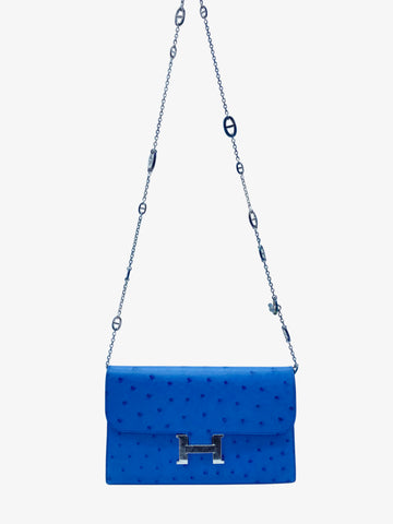 Blue Constance long ostrich wallet with necklace chain