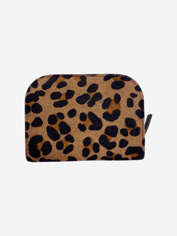 Victor small brown pony skin leopard purse