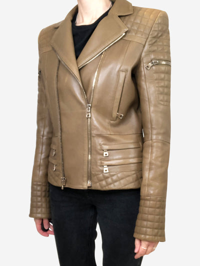Khaki brown leather jacket with quilting - size FR 40